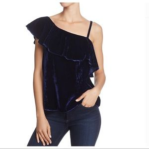 JOA Just One Answer blue one shoulder velvet top